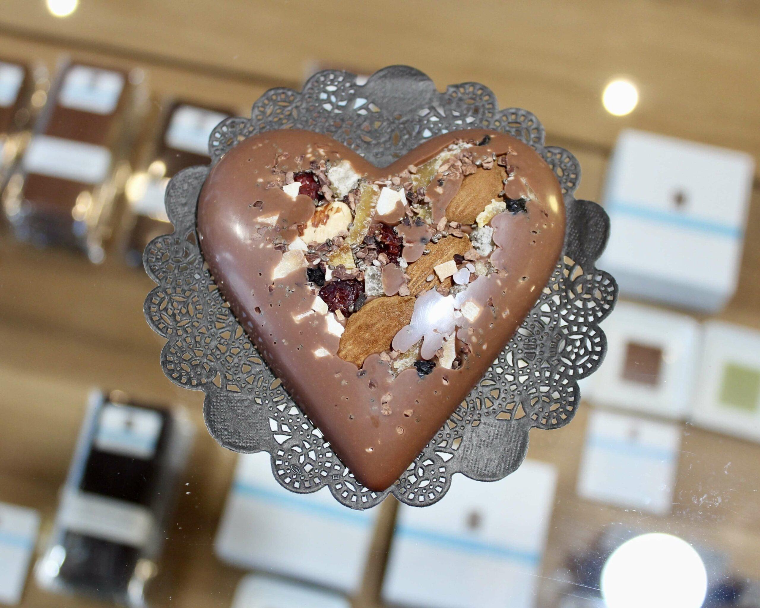 hilde devolder chocolatier heart with nuts fruits seeds