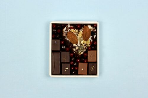 hilde devolder chocolatier box dark chocolate heart with pralines