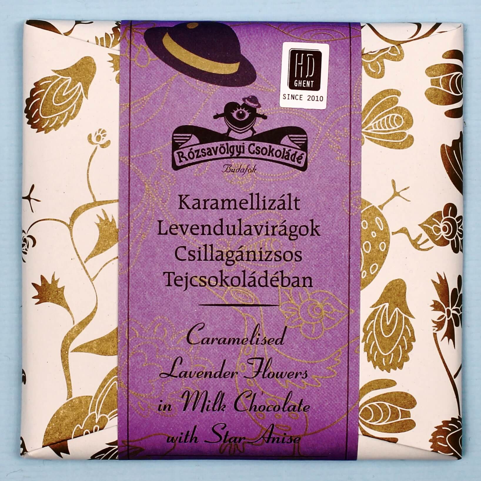 hd ghent rozsavolgyi csokolade caramelised lavender flowers in milk chocolate with star anise 40