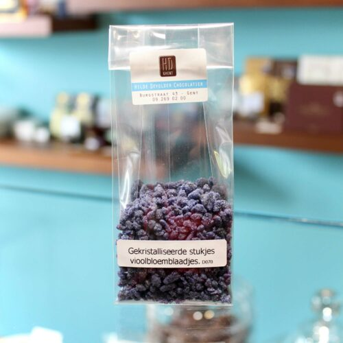 hilde devolder chocolatier cristalized violet petals