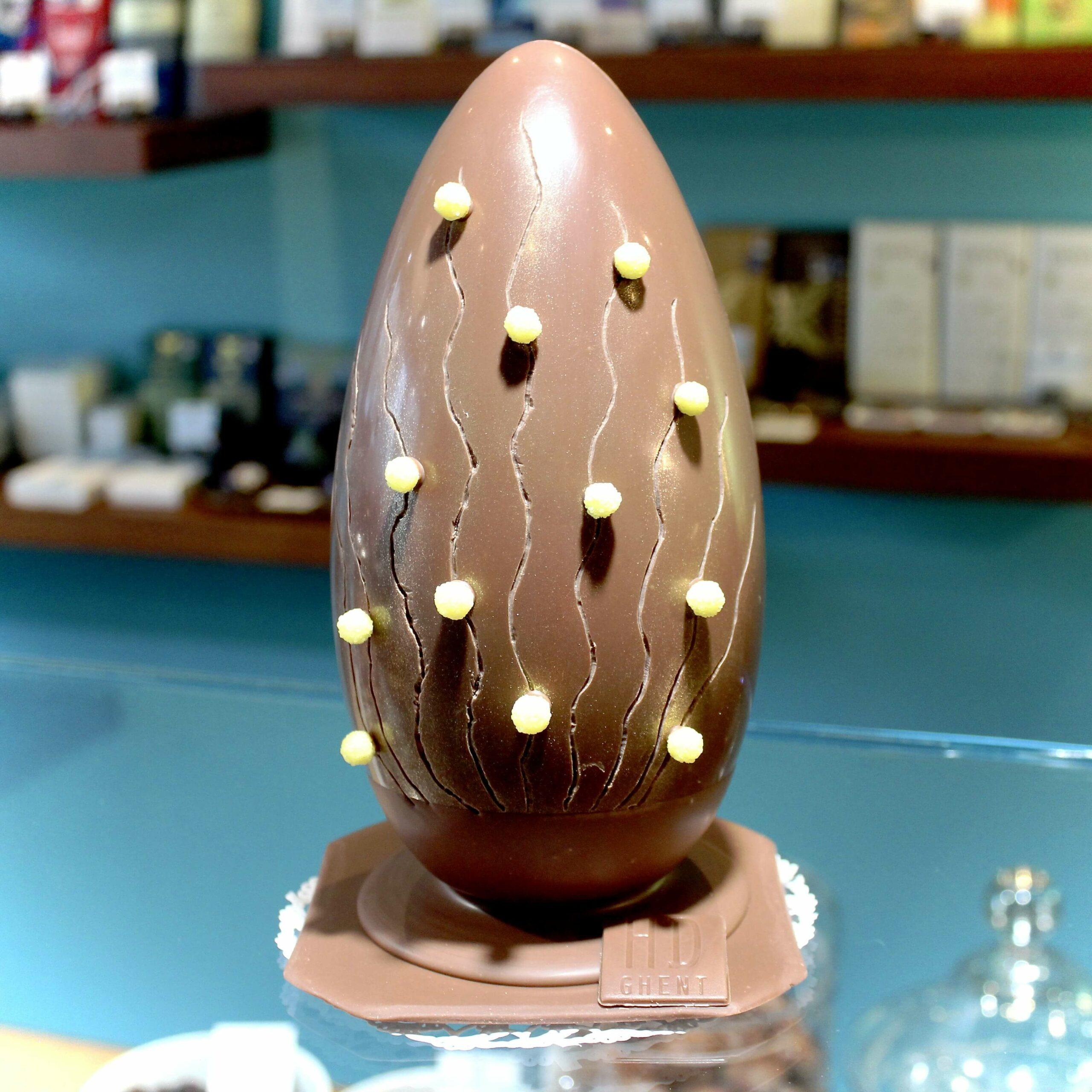 hilde devolder chocolatier easter egg 22 cm milk chocolate 39 peru organic mimosa flowers