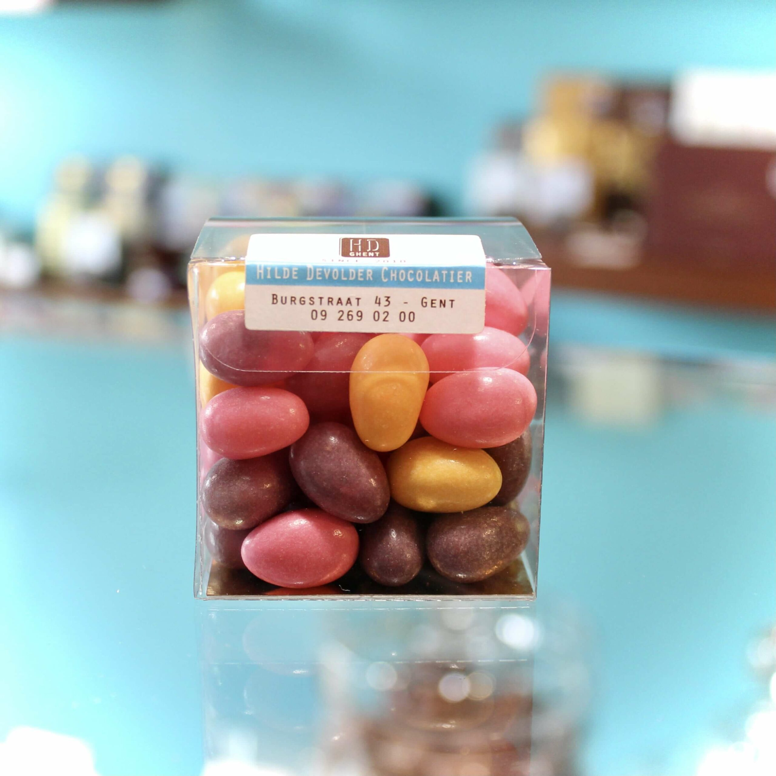 hilde devolder chocolatier sugar pearls with pate de fruits filling